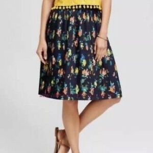 Navy Pleated Floral Skirt